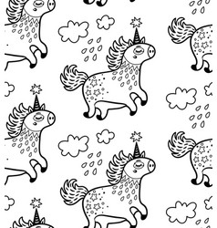 seamless pattern with cute unicorns and clouds in vector image