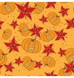Seamless pattern with Halloween pumpkin and vector image