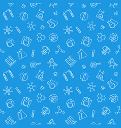 seamless pattern with line chemistry lab equipment vector image