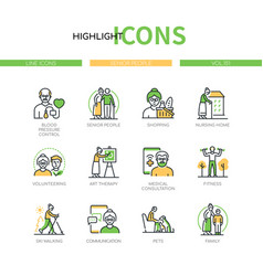 Senior people - line design style icons set vector