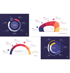 set circle chart designs modern vector image