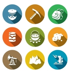 Set geology icons geologist instrument vector