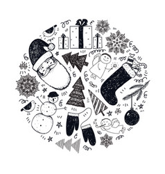 set hand drawn doodle christmas new vector image
