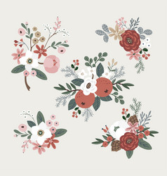 set hand drawn winter bouquets made of vector image