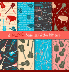 set musical seamless patterns vector image