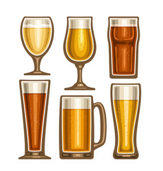 Set of different beer glassware vector