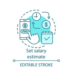 Set salary estimate concept icon wage payment vector