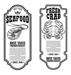 Set seafood flyers with crab and shrimp vector
