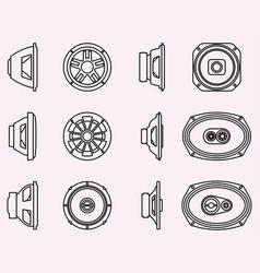 Set speaker driver car audio thin line icons vector