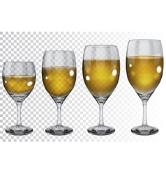 Set transparent glass goblets with wine vector