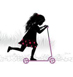 Silhouette of little girl on kick-scooter vector