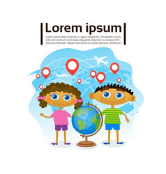Small kids holding globe over world map children vector