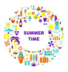 summertime card round on white vector image