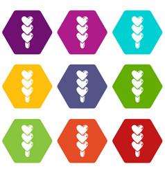 three hearts ice cream icons set 9 vector image