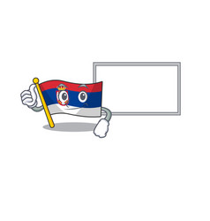 Thumbs up with board flag serbia isolated with the vector