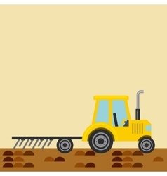 Tractor plowing earth vector