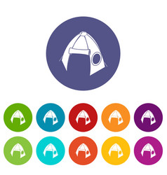 tribal tent icons set color vector image