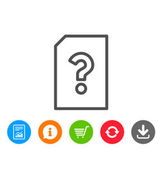 Unknown document line icon file with question vector