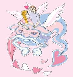 Valentine love dragon vector