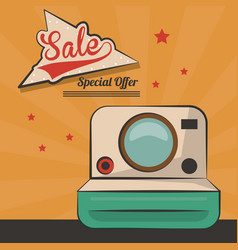 Vintage card sale special offer device retro vector