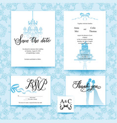 wedding blue card vector image