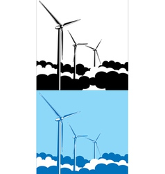 wind turbines in the clouds vector image
