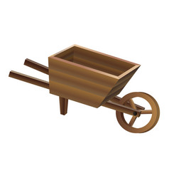 Wood wheelbarrow icon cartoon style vector