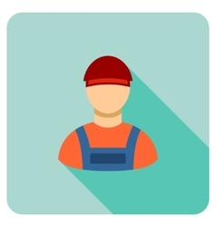 Worker Flat Rounded Square Icon with Long Shadow vector