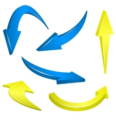 Yellow and blue arrows vector image