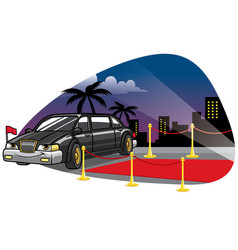 cartoon limousine car at the red caret vector image vector image