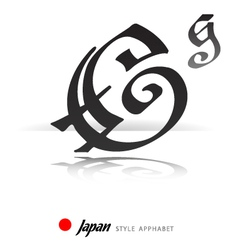 English alphabet in Japanese style - G - vector image