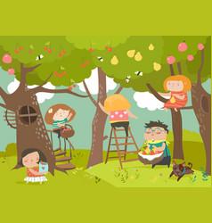 happy children harvesting vector image vector image