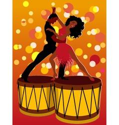 Latin couple dancing on bongos vector image