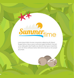 Palm leaves frame for your text flat style vector