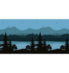 Seamless Landscape Trees and Mountain Lake vector image vector image