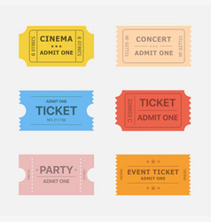 ticket icons vector image vector image