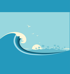 big ocean wave and tropical island blue background vector image