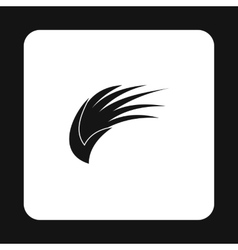 Black long birds wing with feathers icon vector image
