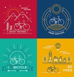 Concept bike line art bicycle set poster nature vector