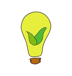 Doodle style bulb with leaves as eco energy symbol vector image vector image