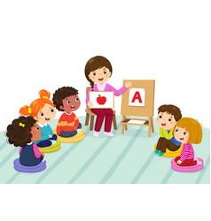 preschool kids and teacher sitting on the floor vector image vector image