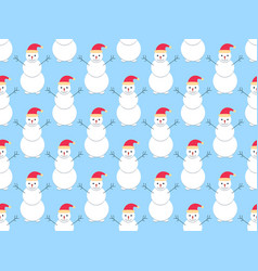 snowmen seamless pattern christmas holiday vector image