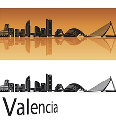 Valencia skyline in orange background vector image vector image