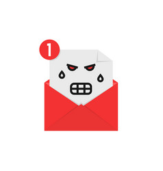 angry emoji in letter notification vector image