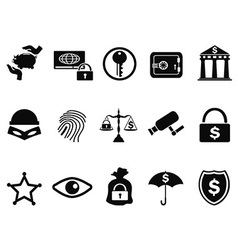 bank security icons set vector image vector image