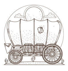 cartage carriage cowboy outline drawing for vector image