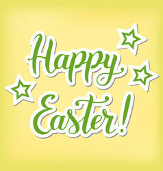 lettering of happy easter in green vector image vector image