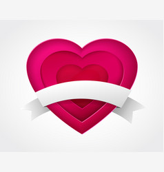 pink paper heart with ribbon vector image vector image