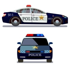 Police car front and side view vector image vector image