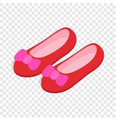 Red ballet shoes with pink bows isometric icon vector